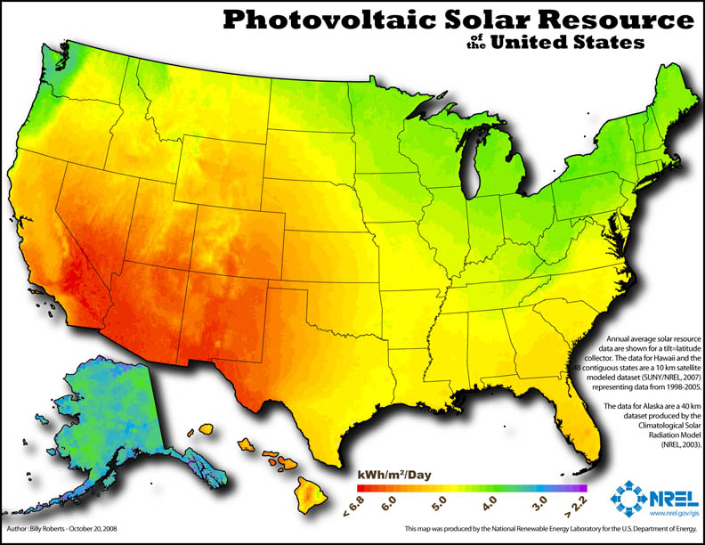 Photovoltiac Solar Resource of the US
